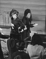 """Ethel Kennedy at Robert Francis """"Bobby"""" Kennedy`s funeral."""