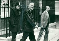 Viscount William Whitelaw leaves 10 Downing Street