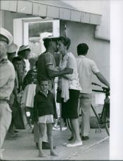 A soldier of Bizerte crisis farewell to wife, 1961.