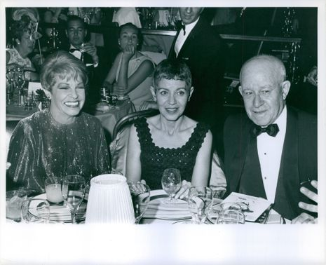 General Omar Nelson Bradley pictured with his wife and Martha Raye, in attendance on an award show.