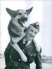 A photo of a soldier carries his trained dog enjoys their playful time together.