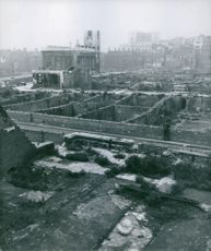 A view of the wrecked buildings in London during the war, England, 1946.