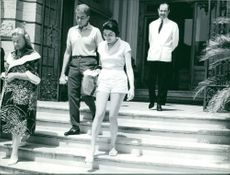 Princess Soraya walking down in the stair. 1960