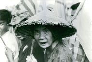 An old lady in the break of the war.