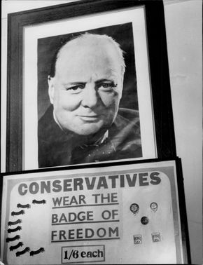 "Portrait picture on Churchill and urging the Conservatives to wear the ""Freedom Mark""."