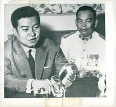 Prince Norodom Sihanouk and General Phoumi Nosavan at press conference