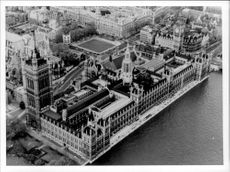 A black and white photograph taken from the English Parliament in London.