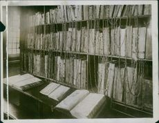 A view of the Chained Library of Hereford Cathedral, where the ancient illuminated volumes are worth thousands of pounds, 1934.