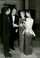 Ronald Reagan and his wife Nancy greet the Swedish King of Kings, King Carl Gustaf and Queen Silvia.