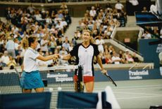Patty Schneider and Steffi Graf after meeting during the US Open.