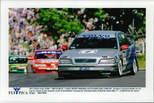 Rickard Rydell headed for the victory in the seventh race run at Brands Hatch.
