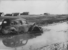 Car driving in the mud at the East front 1942.