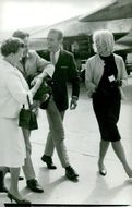 Gunnar Hellström is received by her mother Anna on arrival at Arlanda with friends Craig and Kerstin Rumar