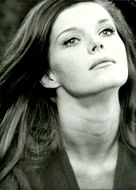 Black and white portrait of actress Samantha Eggar.