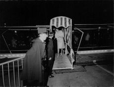 Princess Alexandra going out the boat, 1965.