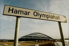 Road sign shows where the Olympic Hall is located.