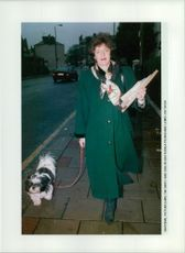 Mrs. Smith with her dog.