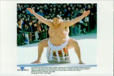 "Japanese sumo master Takanohana (th) performs a ""dezuiri"" ritual at the Meiji Shrine palace."