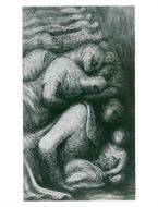 """The drawing """"Row of Sleepers"""" by sculptor Henry Moore"""