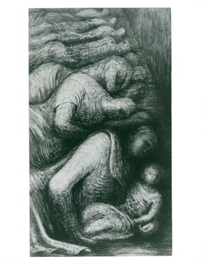 "The drawing ""Row of Sleepers"" by sculptor Henry Moore"