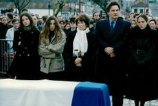 François Mitterrand's grandson Justine and Pascale, the wife Daniele, the son Jean-Christophe and the daughter Mazarine mourn