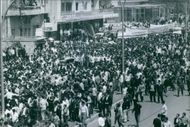 Crowded people in the street in Lebanon. 1969