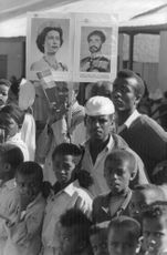 People holding a banner of Princess Anne.