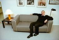 The founder of IKEA, Ingvar Kamprad, in a IKEA sofa
