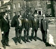 Lord George Brown with some foreign delegates before United Nations's meeting