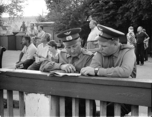 Officers in discussion.