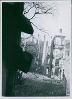 Destroyed buildings after an explosion in Oslo during the war, Norway, 1944.