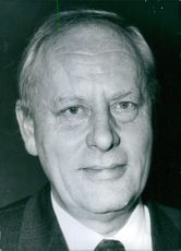 Portrait of Chairman of BBC, Sir Michael Swann, 1972.