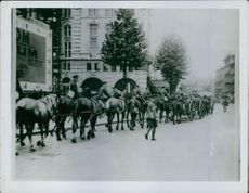 Territorials on their way to barracks in London.