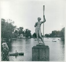A typical Russian sports statue in the Kirov Park in Saint Petersburg