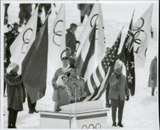 Carol Heiss hosts the Olympic Eve at the inauguration of the Olympic Games in Squaw Valley.
