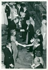 King's dinner at the castle. Crown Prince, Princess Christina and Prince Bertil greet guests
