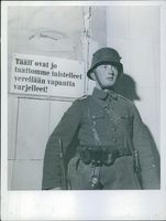 "Finnish-Russian War 1940 Finnish soldier guarding ""here are already turned without fights with his blood relieve watched over"""