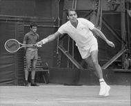 Pancho Gonzales in action during the match against Bengtson in Wimbledon in 1969