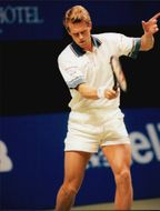 Stefan Edberg during the match against Malivai Washington in Stockholm Open 1995