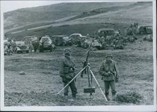 Soldiers standing and ready to fire during Yugoslav war, 1941.
