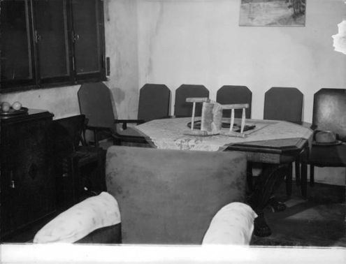 Row of empty chairs, 1960.