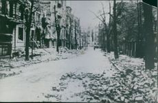 Burggrafen, Strasse(Street) 1944 Bomleskador(Noise Damage) Det bombade Berlin.(It bombed Berlin.) Berlin var lindarnas stad.(Berlin was the Linden trees.)  This is one of Wilhelmine Berlin's typical winding streets planted in the diplomatic quarter in the