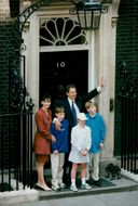 Britain's new prime minister Tony Blair with family, off 10 Downing Street