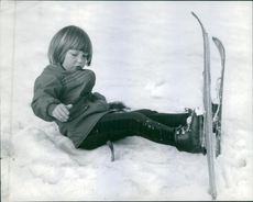 Jean-Claude Killy's daughter Michaela learning to ski.