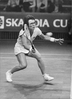 Billie Jean King in action during the Stockholm Open 1979
