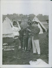 Soldiers having fun in their camp.