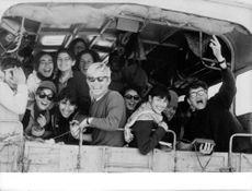 Young people were all happy riding a truck in Israel.  - 1969