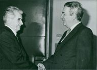 Lazar Mojsov, President of the Central Committee of the Yugoslov League of Communists (right) receiving President Nicolae Ceausescu in Belgrade in October 1988.