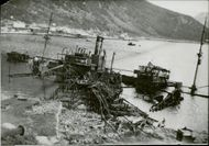 A destroyed battleship in the sea of NARVIK.