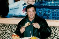 Sylvester Stallone on Planet Hollywood at Gatwick Airport